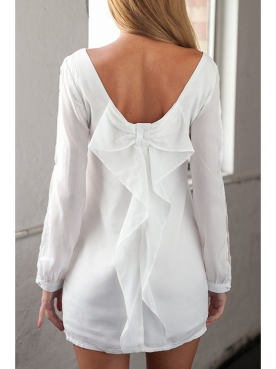 latest Long Sleeve Bowknot Cut Out White Dress - WHITE S