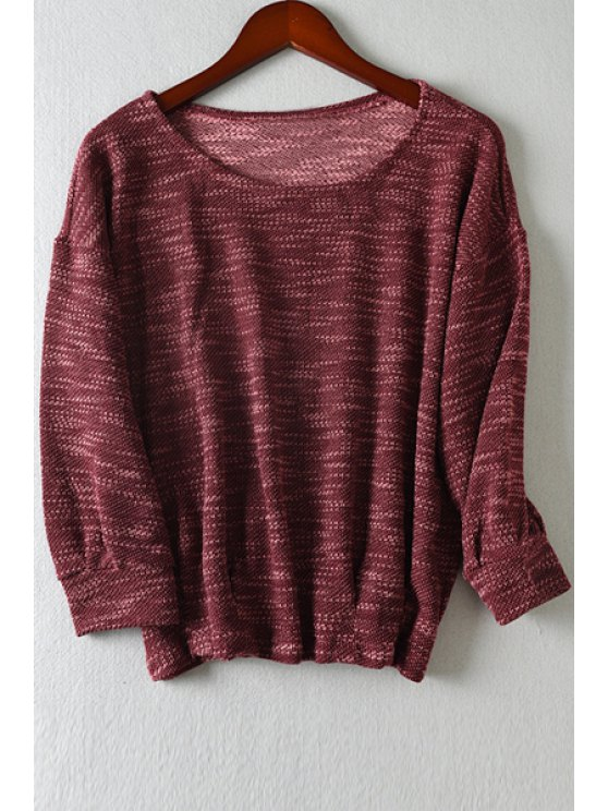best Scoop Neck Color Mixed Long Sleeve T-Shirt - WINE RED M