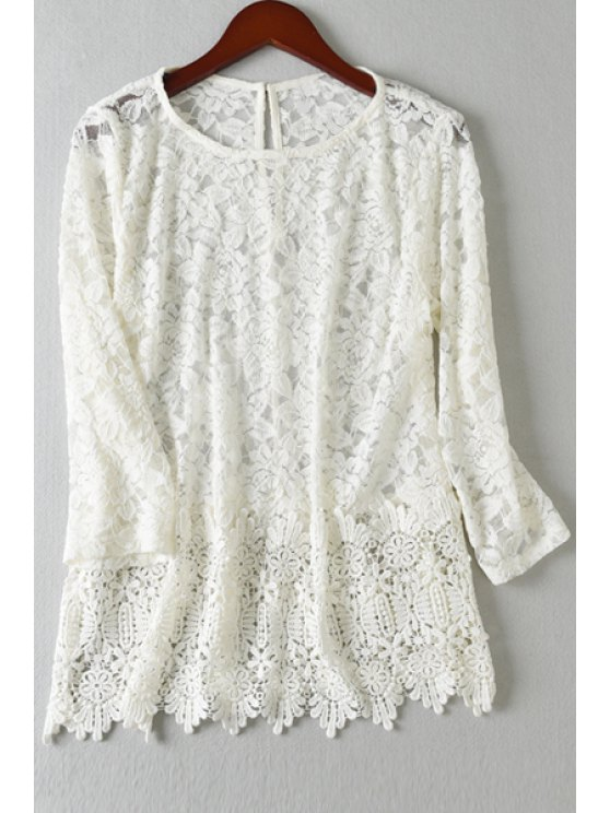 women's Jewel Neck Solid Color Lace Blouse - OFF-WHITE S