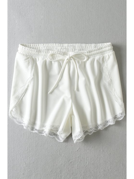 lady Lace Splicing Tie-Up Shorts - WHITE S