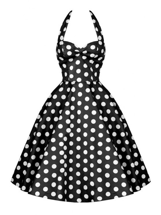 fancy Polka Dot Print Halter A Line Pin Up Dress - BLACK L