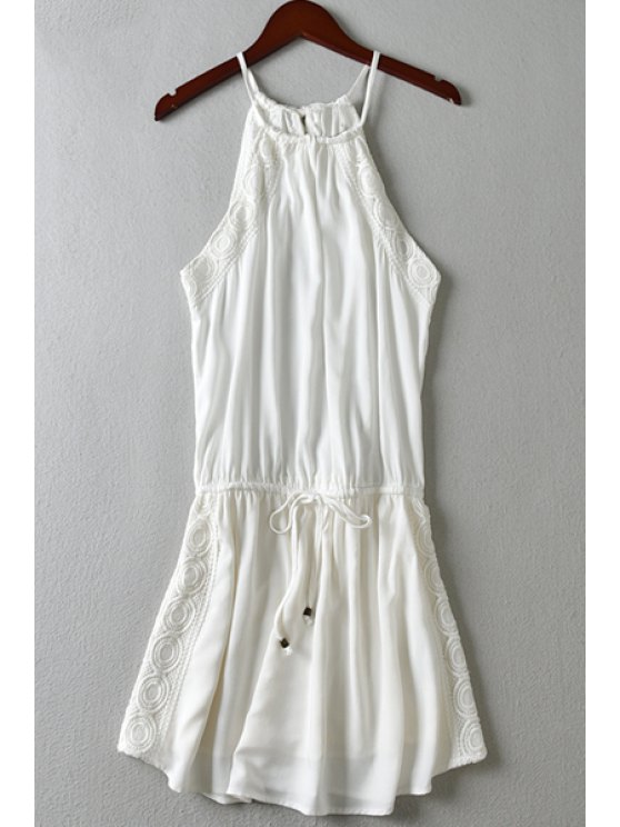 sale Spaghetti Strap Lace Splicing Tie-Up Dress - WHITE S