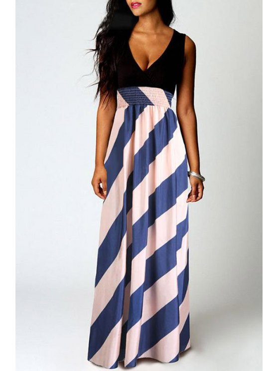 chic Stripe Spliced Plunging Neck Maxi Dress - COLORMIX S