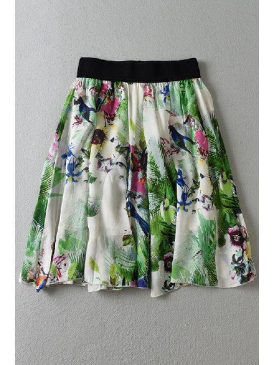 unique Floral Print Elastic Waist Skirt - COLORMIX ONE SIZE(FIT SIZE XS TO M)