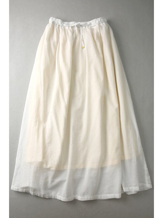 affordable Tie-Up Solid Color Long Skirt - OFF-WHITE ONE SIZE(FIT SIZE XS TO M)