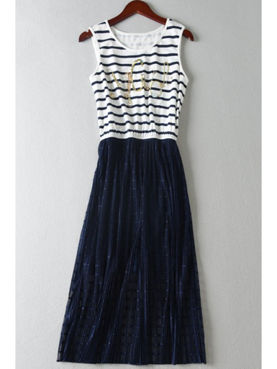 womens Letter Pattern Stripe Splicing Sleeveless Dress - WHITE AND BLACK S