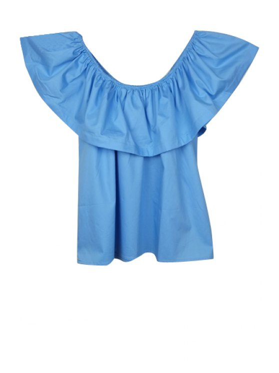 hot Flounce Spliced Slash Neck Blouse - BLUE S