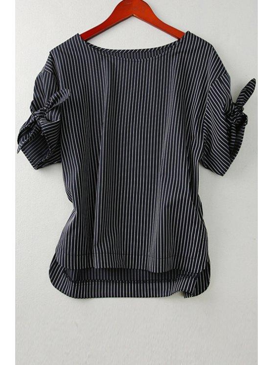 outfit Jewel Neck Stripe Tie Knot T-Shirt - BLACK M