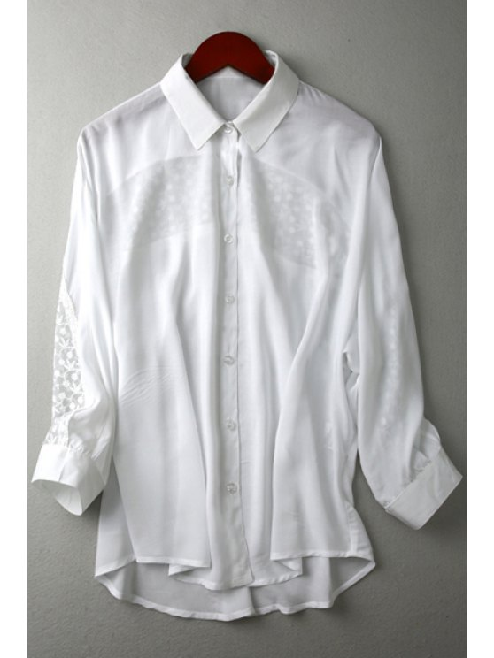 fancy See-Through Lace Splicing Long Sleeve Shirt - WHITE S