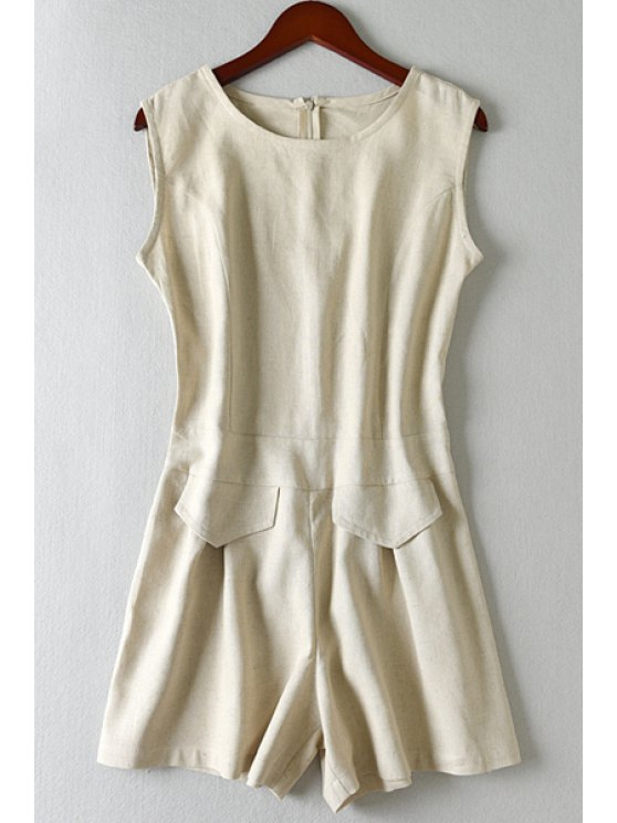 womens Solid Color Ruffle Sleeveless Romper - KHAKI S
