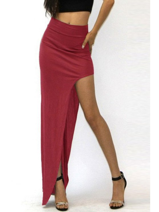 lady Packet Buttocks Side Slit Long Skirt - WINE RED S