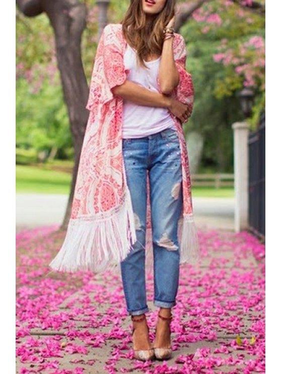 best Vintage Print Half Sleeve Kimono - RED WITH WHITE S