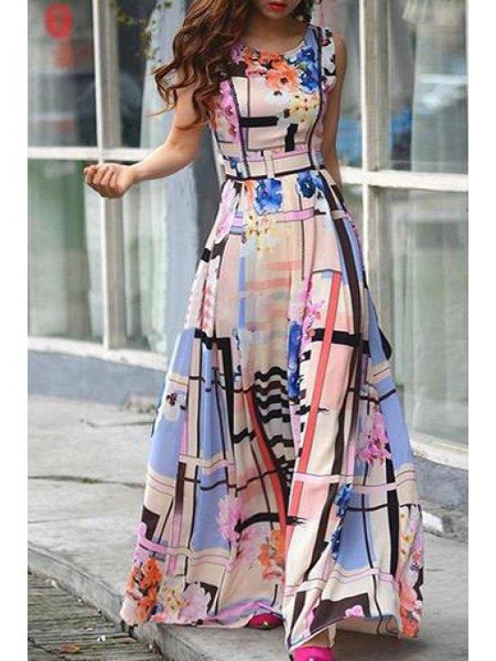 shops Flower Pattern Sleeveless Maxi Dress - COLORMIX S