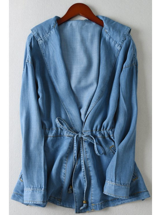 outfits Bleach Wash Tie-Up Long Sleeve Coat - ICE BLUE XS