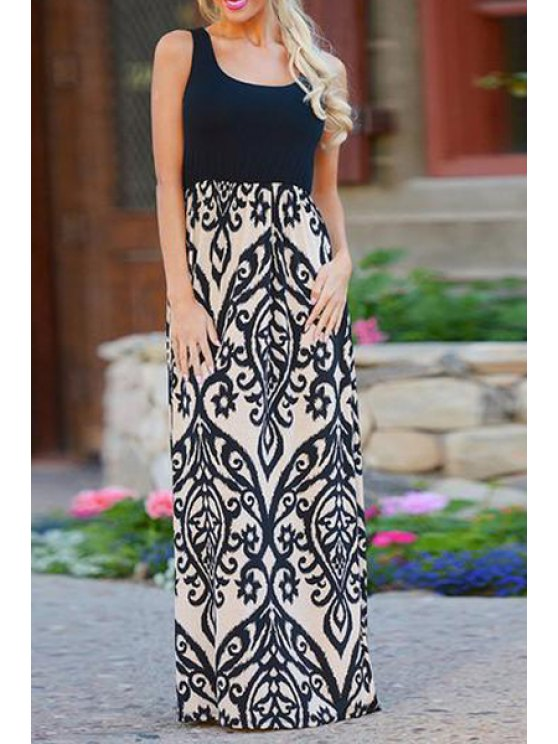 chic Print Spliced Scoop Collar Maxi Dress - BLACK S