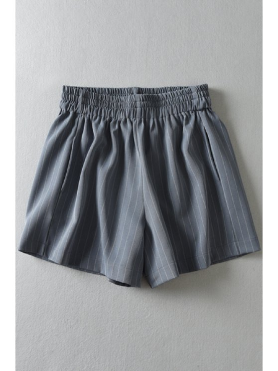 latest Stripes Elastic Waist Shorts - GRAY ONE SIZE(FIT SIZE XS TO M)