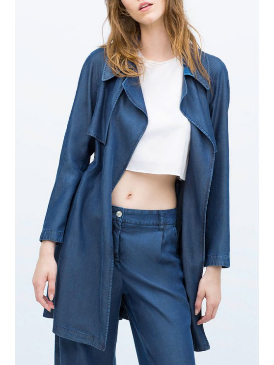 fancy Bleach Wash Belt Long Sleeve Trench Coat - BLUE M