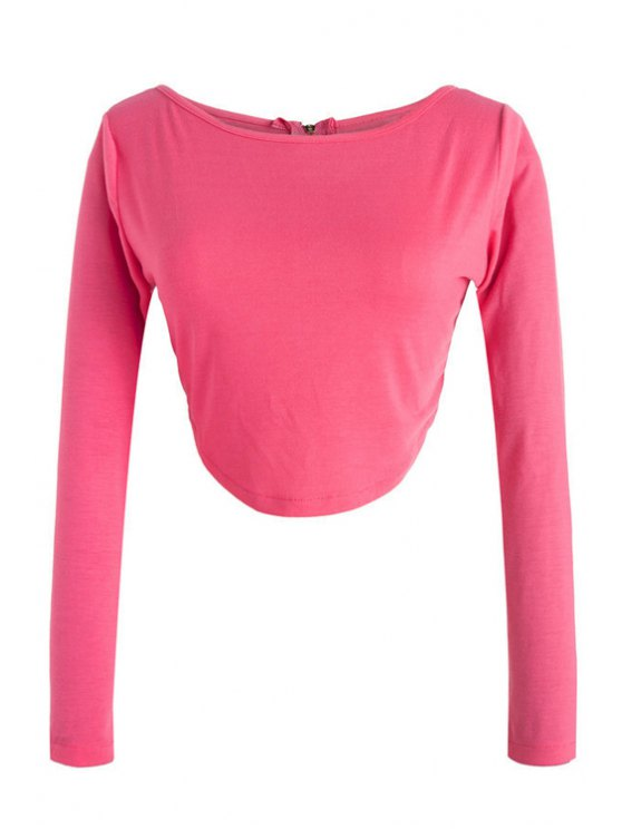 affordable Long Sleeve Fitted Zipper Design Crop Top - ROSE XL