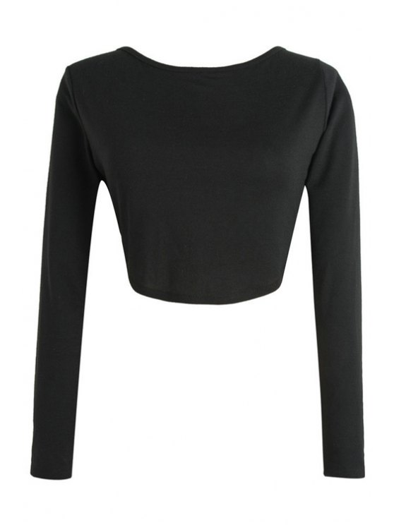 chic Long Sleeve Fitted Zipper Design Crop Top - BLACK L