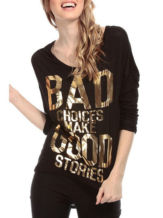 affordable Gold Letter Print Backless 3/4 Sleeve T-Shirt - BLACK XS
