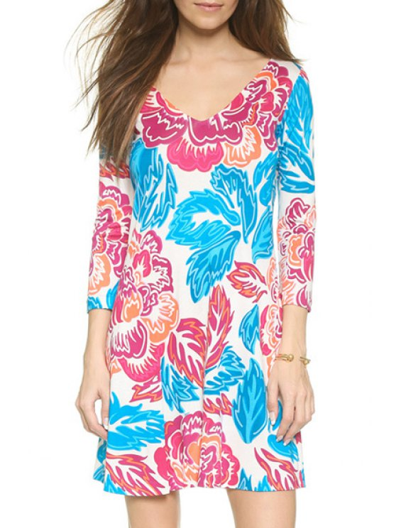 affordable Color Block Floral Leaves Print 3/4 Sleeve Dress - BLUE XS