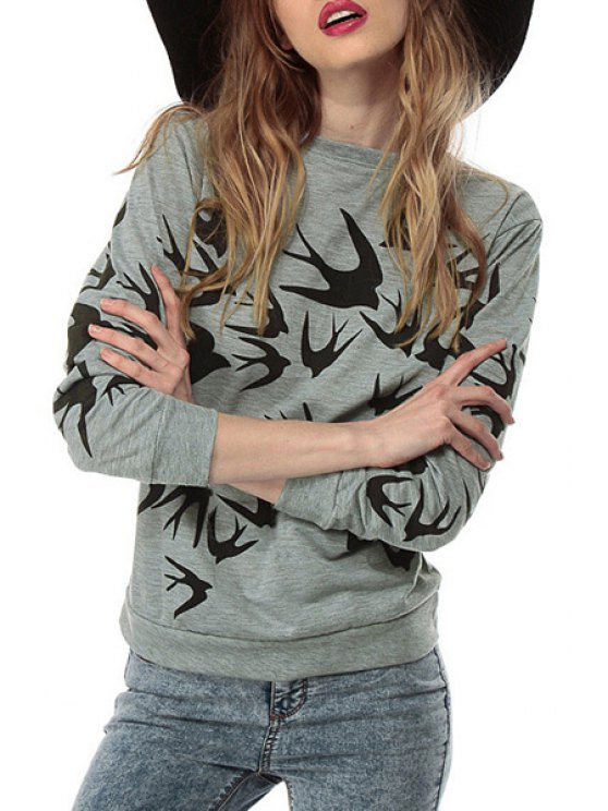 fashion Black Swallow Print Long Sleeve Sweatshirt - GRAY XS