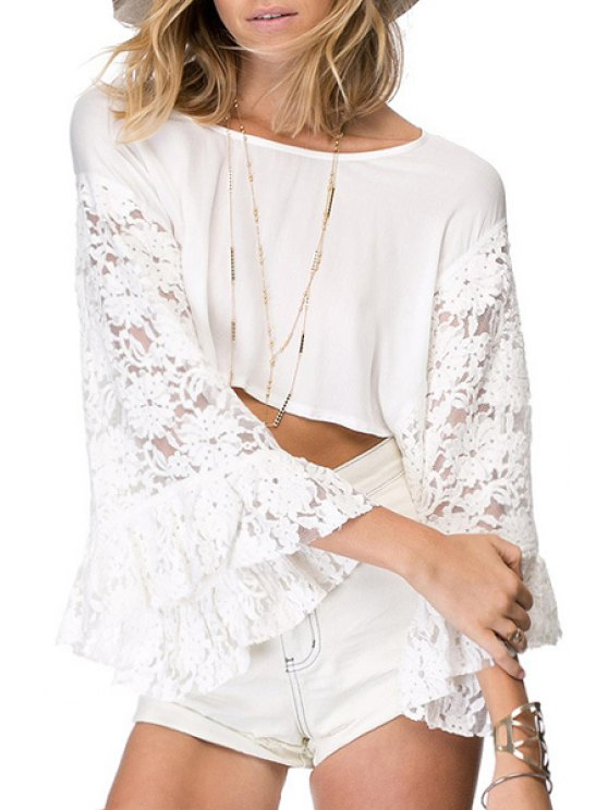 outfit See-Through Lace Splicing Long Sleeve T-Shirt - WHITE XS