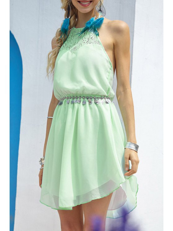 outfits Green Halter A Line Backless Dress - GREEN S