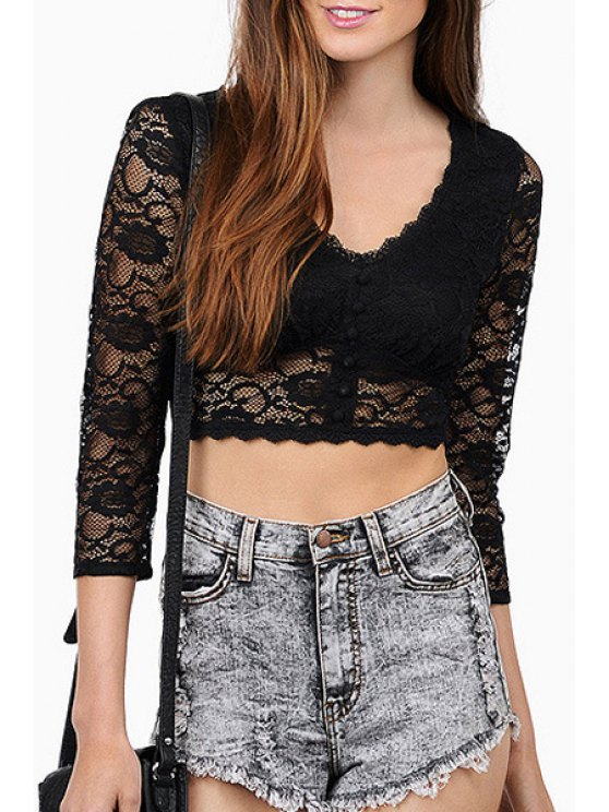 latest See-Through Lace 3/4 Sleeve Crop Top - BLACK M