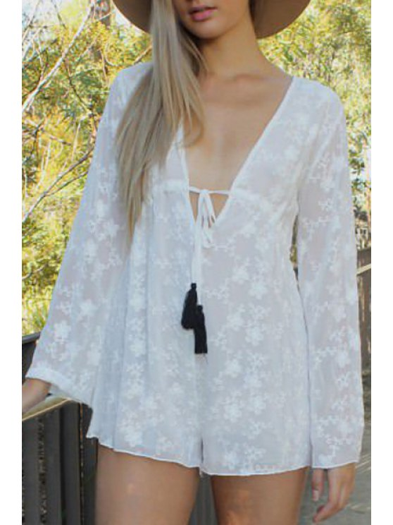 women's Long Sleeve Embroidered Chiffon Romper - WHITE S