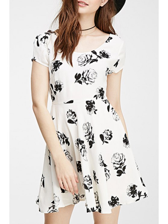 outfit Black Rose Print Short Sleeve Dress - WHITE XS