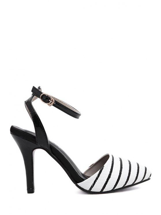 hot Color Block Stripes Stiletto Heel Sandals - WHITE 37