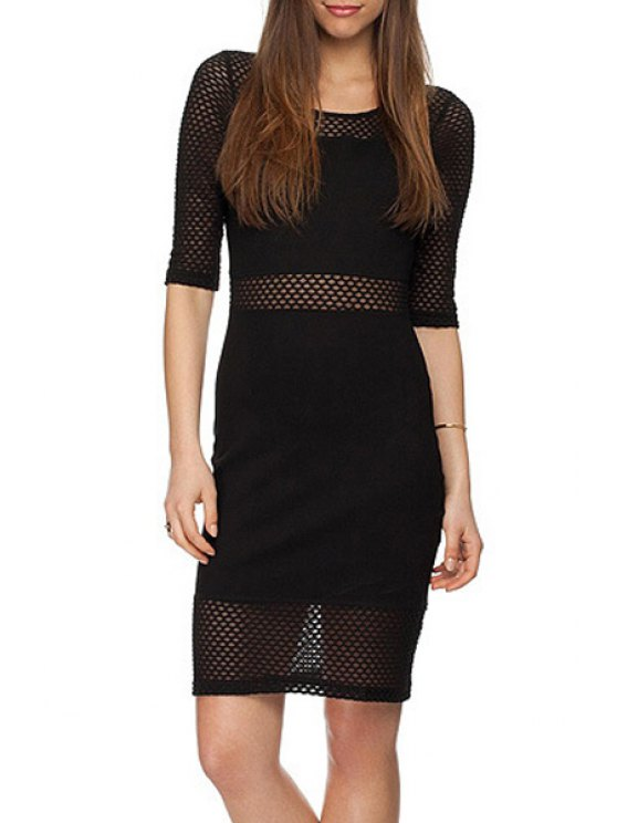 new Scoop Neck See-Through Mesh Dress - BLACK XS