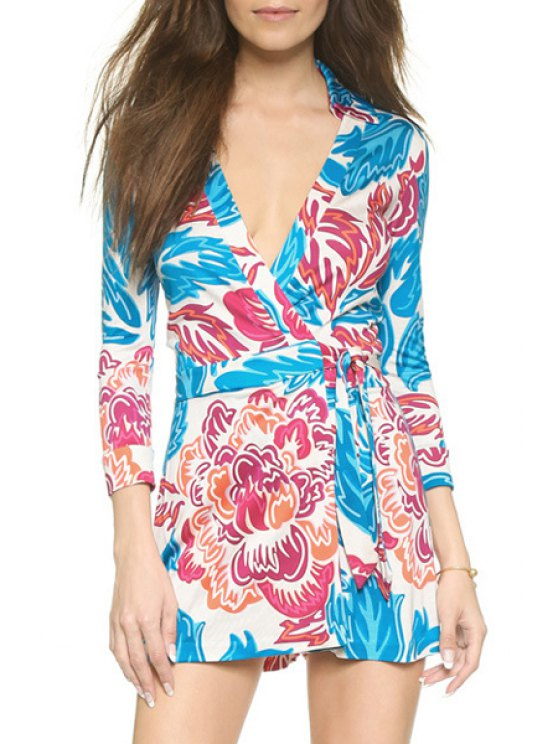 chic Color Block Floral Leaves Print 3/4 Sleeve Romper - BLUE XS