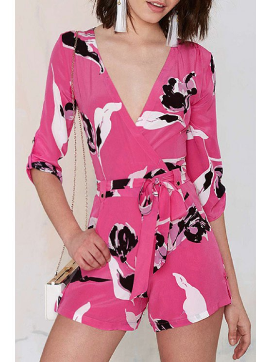 shops White Black Floral Print 3/4 Sleeve Romper - RED XL