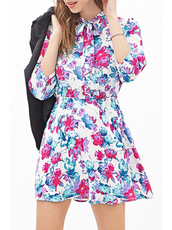 new Tie-Up Floral Print 3/4 Sleeve Dress - WHITE XS