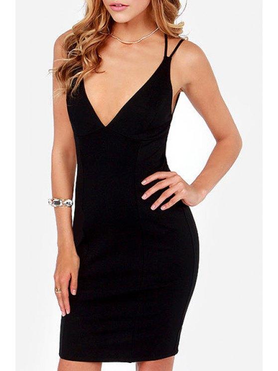 latest Spaghetti Strap Cross Backless Dress - BLACK XS