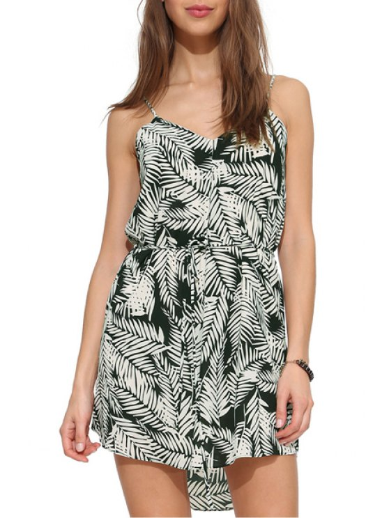sale Spaghetti Strap White Leaves Print Sleeveless Dress - WHITE XS