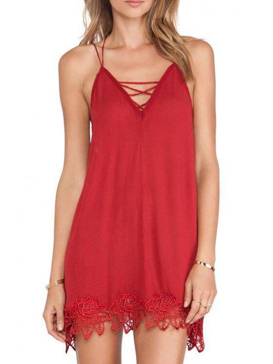 fancy Crochet Flower Spliced Cami Dress - RED S