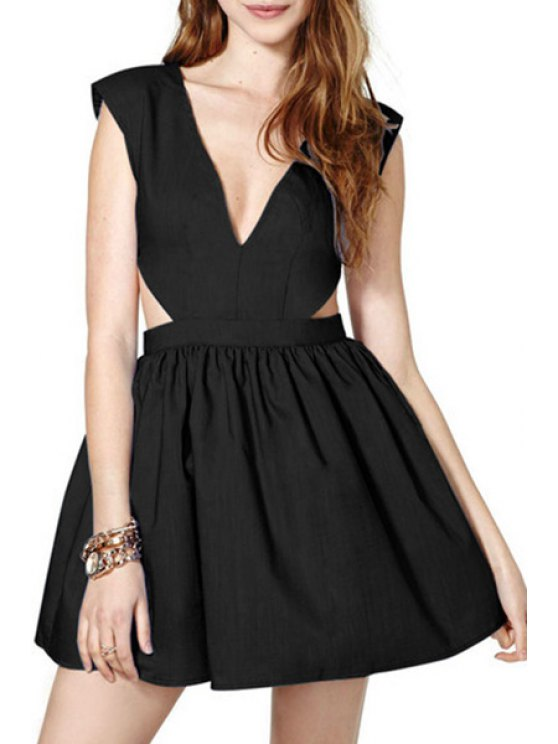 new Pure Color Plunging Neck Sleeveless Flare Dress - BLACK L