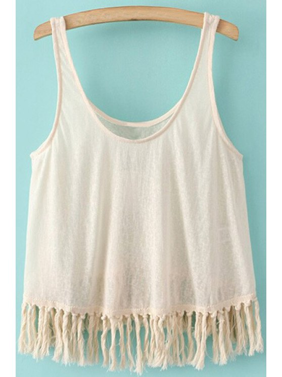 new Pure Color Tassels Scoop Neck Tank Top - OFF-WHITE S