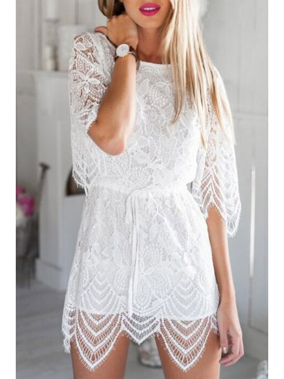 outfit White Openwork Lace Hook Playsuit - WHITE S