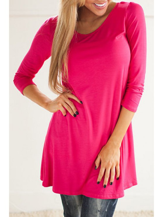 new Scoop Neck Back Lace Splicing 3/4 Sleeve Dress - ROSE S