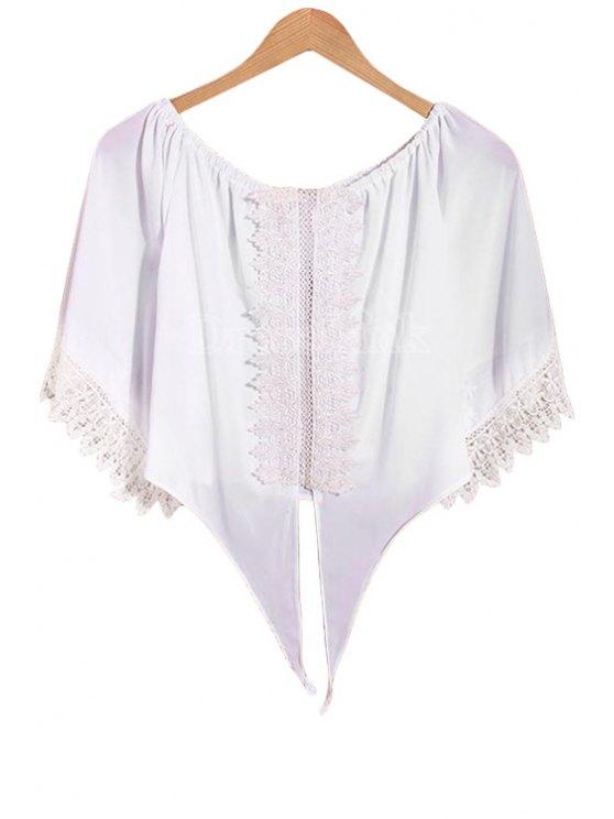 fashion White Slash Neck Half Sleeve Crop Top - WHITE S
