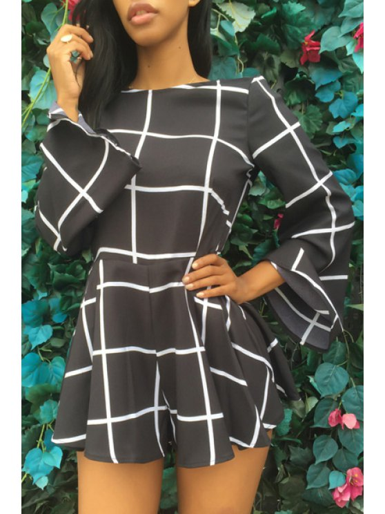 outfits White Black Plaid Backless Long Sleeve Romper - BLACK L
