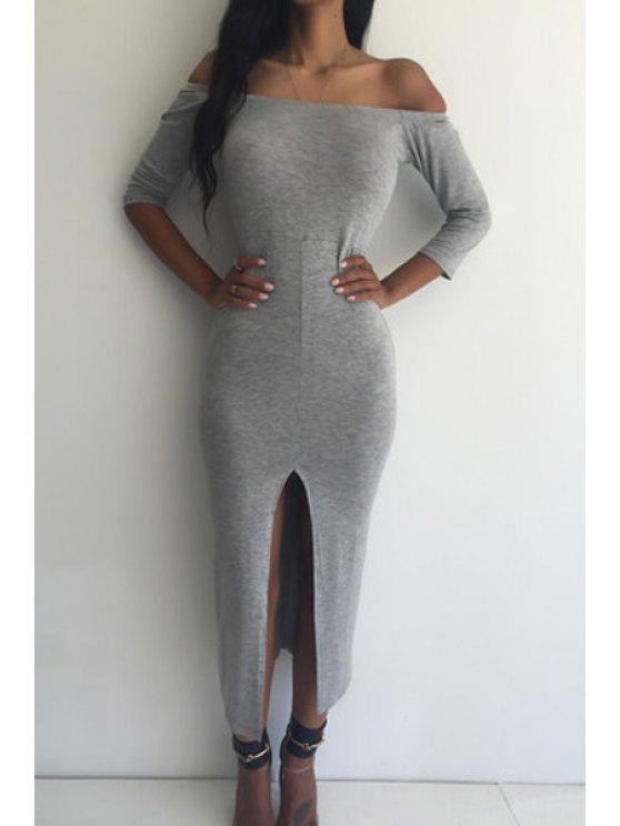 ladies Off-The-Shoulder Slit Bodycon Dress - GRAY S