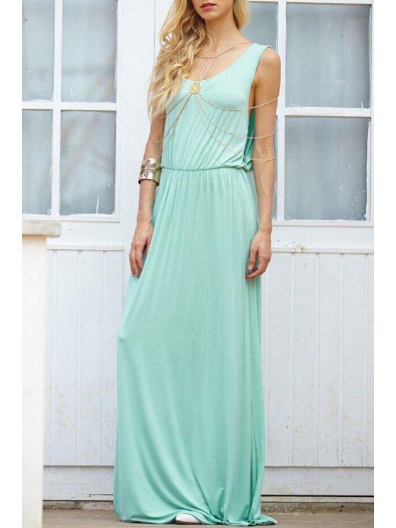 ladies Scoop Neck Backless Splicing Sleeveless Dress - AZURE S