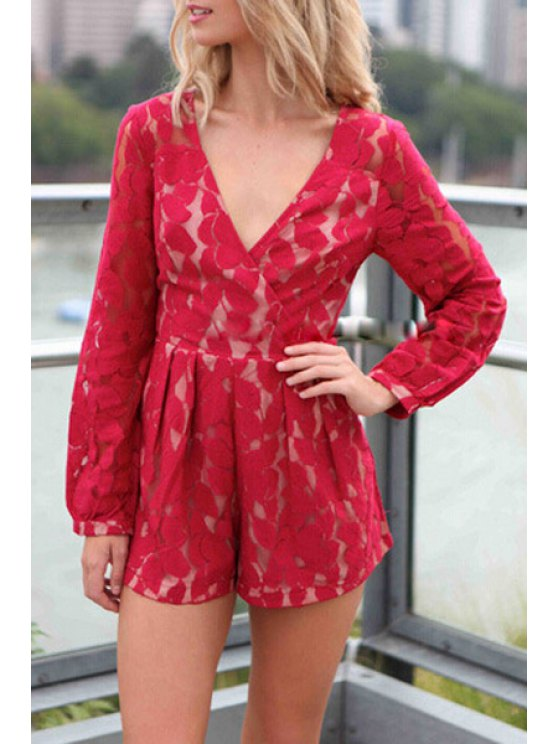 trendy Long Sleeve Openwork Lace Hook Playsuit - RED S