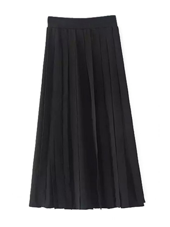 affordable Pleated High Waisted Black Skirt - BLACK S