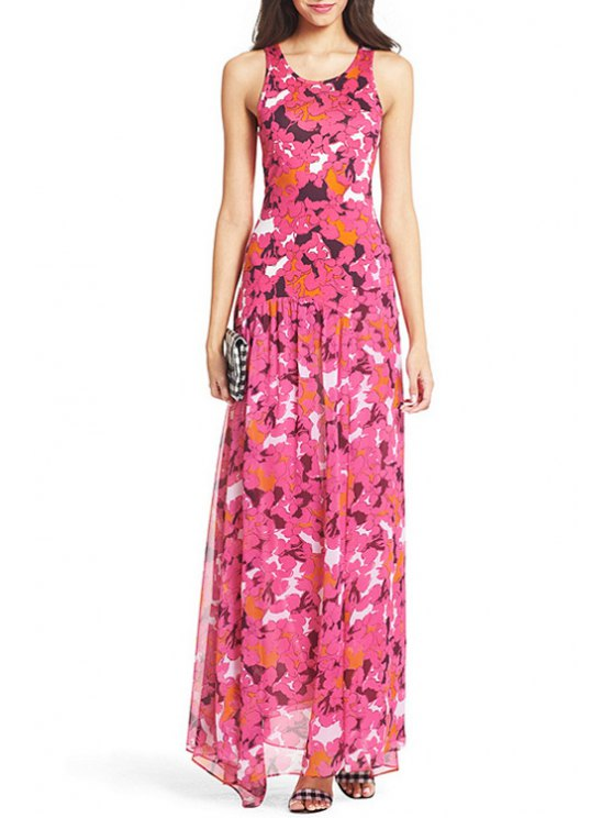 affordable Scoop Neck Printed High Slit Sleeveless Dress - AS THE PICTURE S
